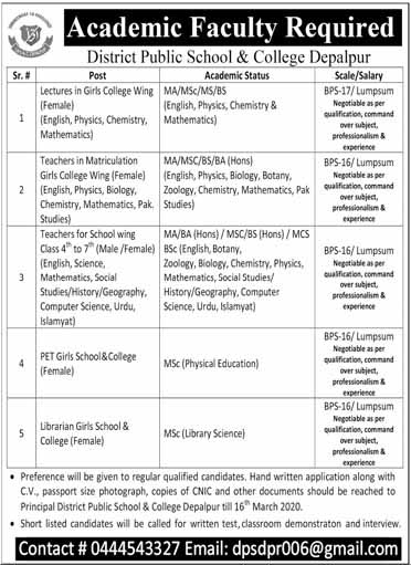 District Public School And College (DPS) Jobs For Lecturers, Teachers