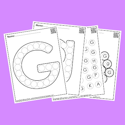 Letter G dot markers free preschool coloring pages ,learn alphabet ABC for toddlers