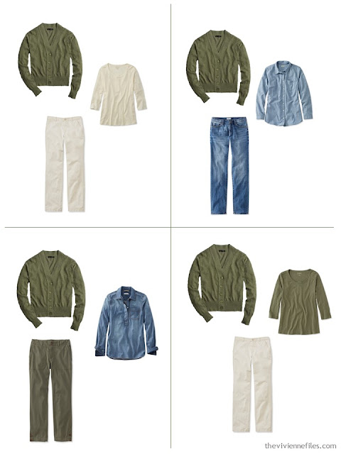 adding an olive cardigan to a leisure wardrobe