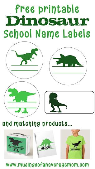 dinosaur school name labels