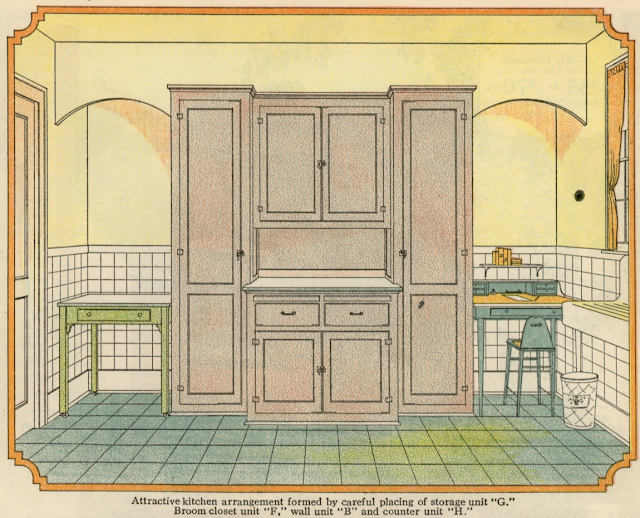 kitchen display in color in 1930 Sears Modern Homes catalog
