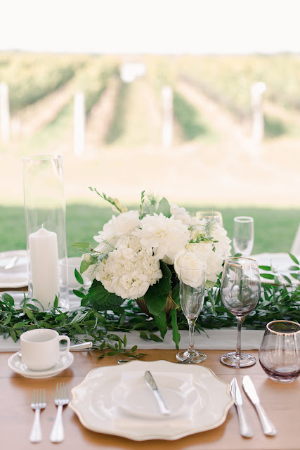 Niagara Wedding Planner - A Divine Affair - Maggie & Nik - Gemini Photography - Elegant Winery Weddings at Ravine Vineyard. Tented Reception with outdoor ceremony. Oyster shucking, Photo Booth and Live band. Harvest tables with chiffon runner and garland of greenery.