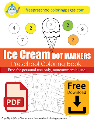 Free ice cream balls summer dot markers preschool coloring pages , learn to count numbers from 1 to 10 for kids