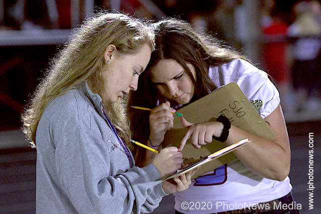 Rylee Walsh and Ella Miller calculate football stats