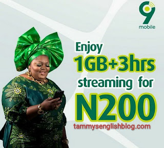 Get 1GB and 3 Hours Streaming for N200 on 9mobile Network