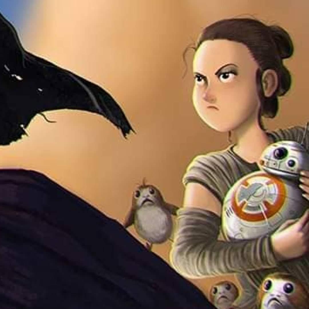 Star Wars Fan Art by Roman Dubina : サーガの完結編「ザ・ライズ・オブ・スカイウォーカー」の公開が間近だというのに、世間が注目の「スター・ウォーズ」の話題の中心が、「ザ・マンダロリアン」であることに大いに不満らしいレイを描いた皮肉なファン・アート ! !