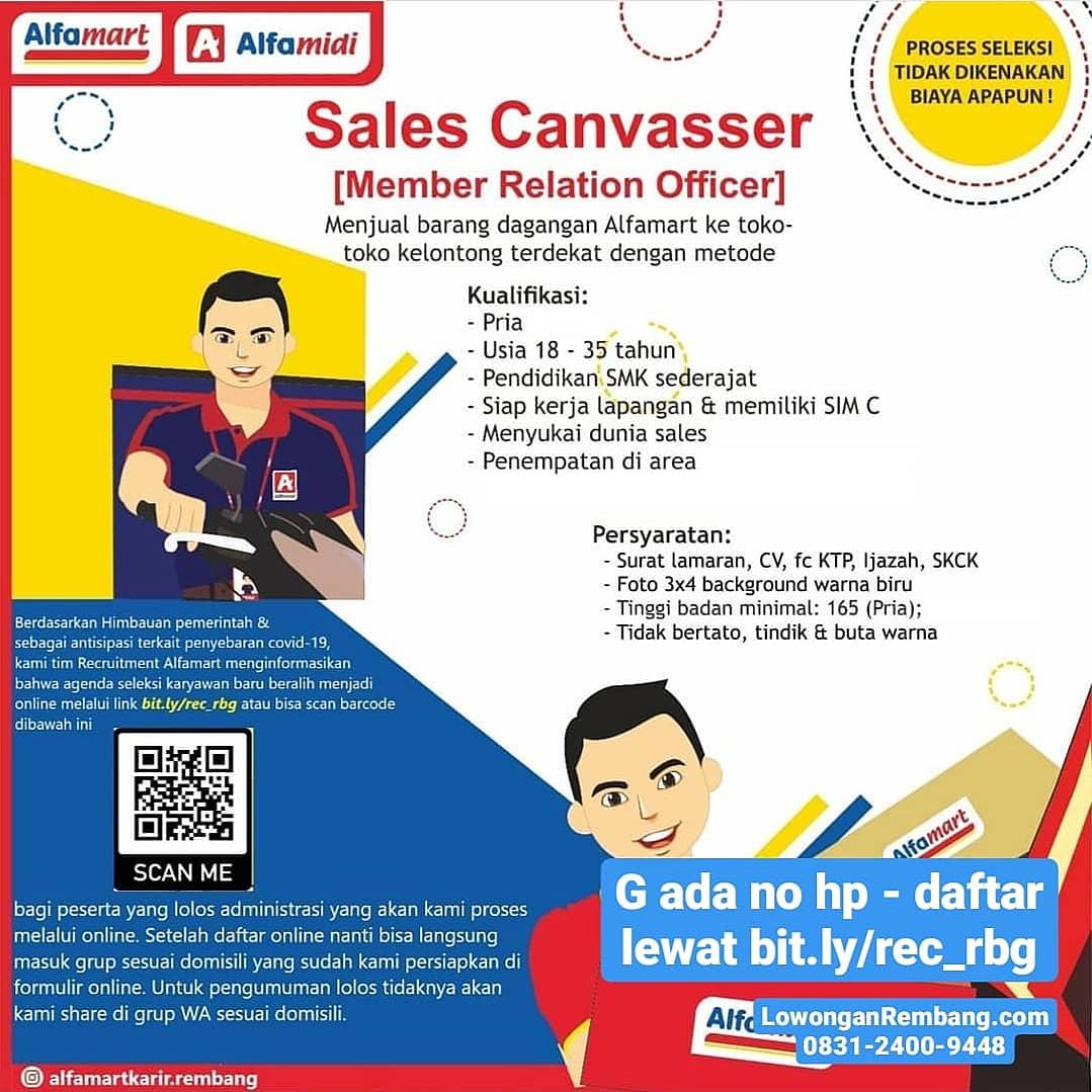 Alfamart Rembang Buka Lowongan Kerja Posisi Sales Canvasser Daftarnya Online Cukup Dari Rumah