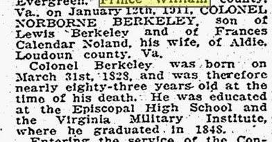 Prince William County Genealogy: Sunday's Obituary
