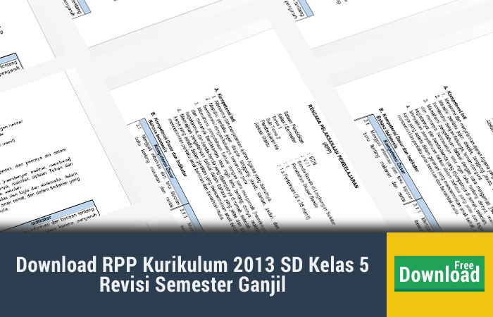 Download RPP Kurikulum 2013 SD Kelas 5 Revisi Semester Ganjil