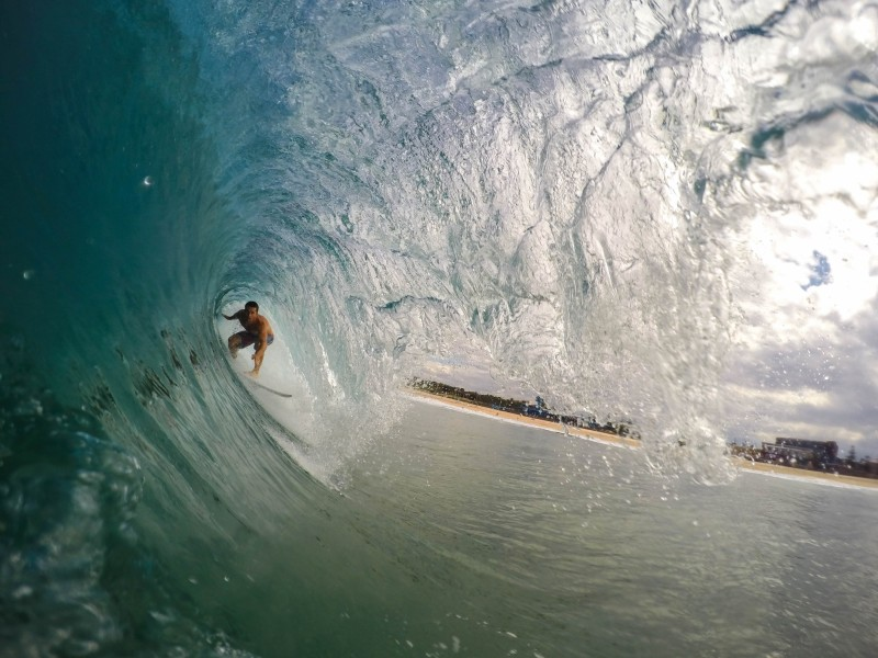 Download Person Surfing over the Wave Tunnel HD wallpaper. Click Visit page Button for More Images.