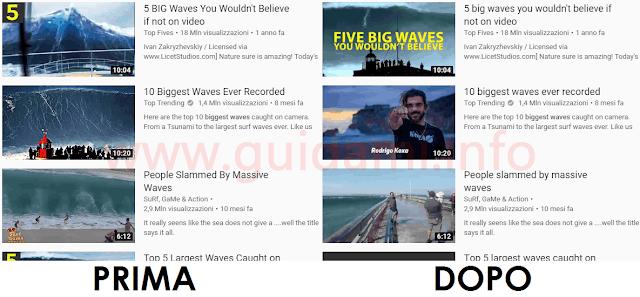 Clickbait Remover for Youtube effetti sulle anteprime e titoli dei video di YouTube prima e dopo l'estensione