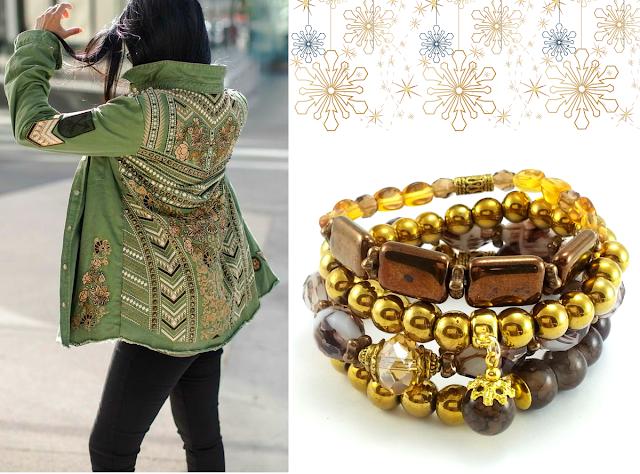 Złoty zestaw bransoletek z hematytem, koralikami jablonex i kryształkami. Biżuteria rękodzieło.