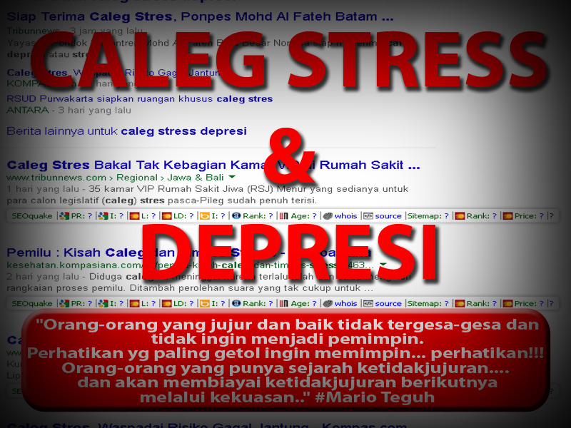Tanpa Malu-Malu, Caleg Stress dan Depresi Bermunculan