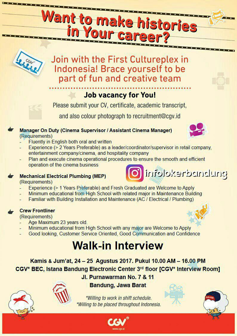 Lowongan Kerja CGV Bandung ( Walk In Interview ) Agustus 2017