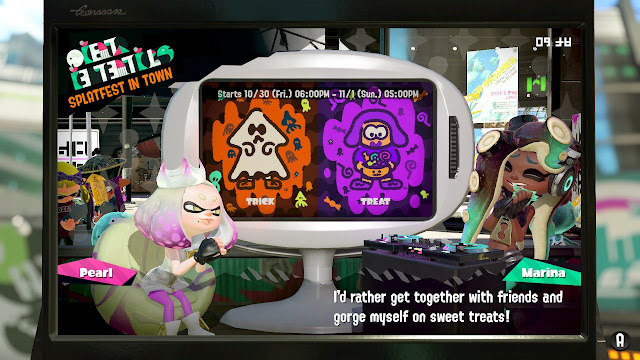Splatoon 2 Splatfest rerun Splatoween Trick vs. Treat Marina gorge myself on sweet treats