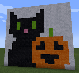 Halloween Pumpkin and Black Cat Pixel Art Minecraft