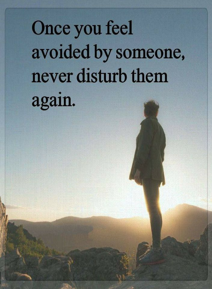 Once You Feel Avoided By Someone Never Disturb Them Again Quotes