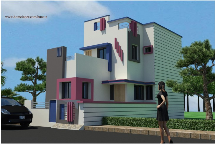 Small low cost attractive gujarat house design indian for Indian small house design 2 bedroom
