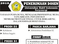 Lowongan Dosen Bahasa dan Sastra Indonesia UBI Banyuwangi