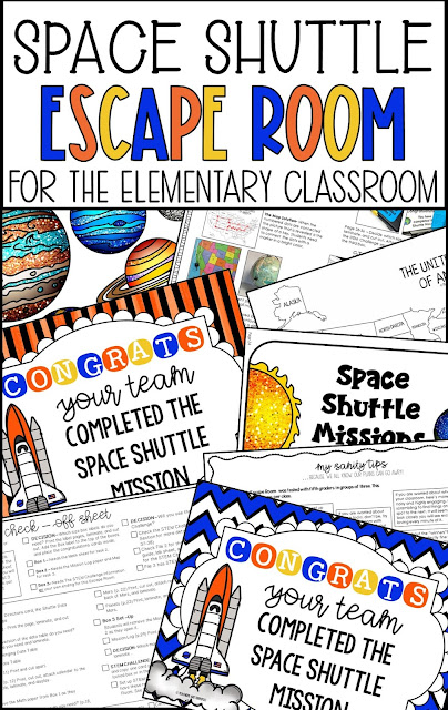 For this Escape Room, the information within the tasks is all about the United States Space Shuttle Missions. It's an Unlock the Box Challenge with a Science-based theme! And it includes a STEM Challenge!