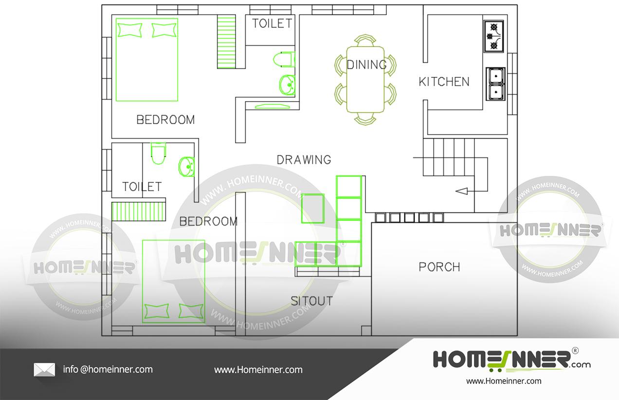 Free house plan 800 sq ft 2BHK