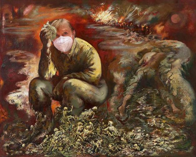 Merkel oder Hitler, nach Georg Grosz