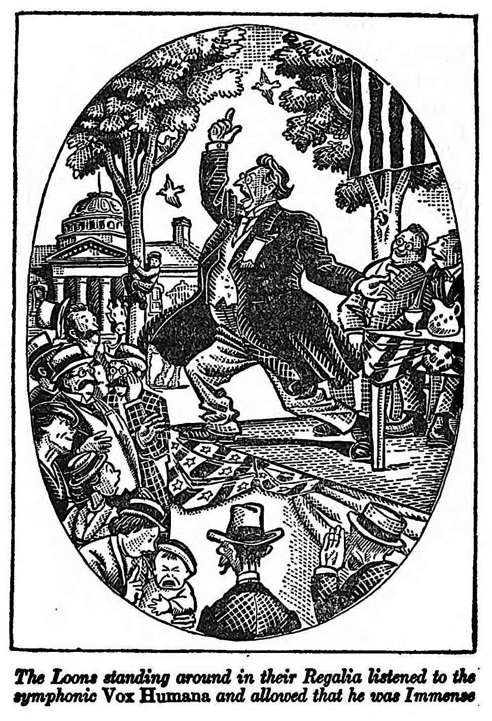 a John P. McCutcheon cartoon about political speech bluster, symphonic vox humana