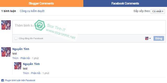 Sử dụng song song nhận xét Blogger Comment và Facebook Comment