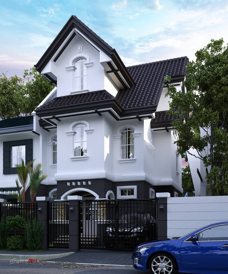 Beautiful elegant two story house with black and white for Beautiful two story homes