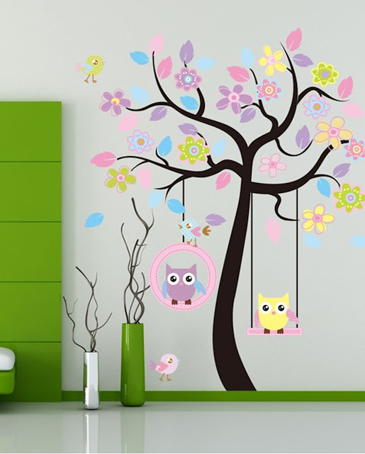 cool wall art ideas with tree and cartoon painting