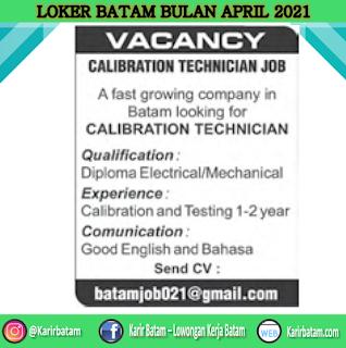 Lowongan Kerja Calibration Technician April 2021