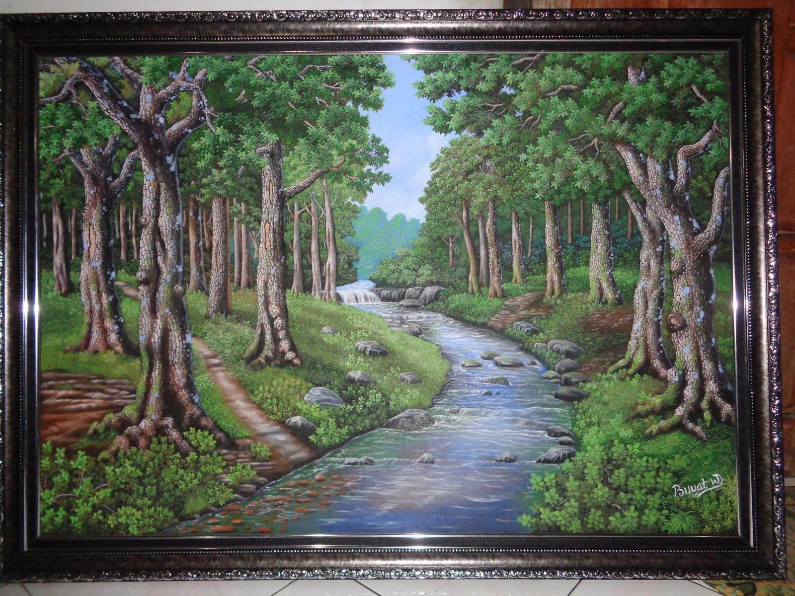 Lukisan Pemandanga Buyat W Pemandangan Hutan Dan Sawah