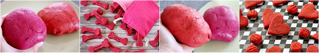 Demonstration of tinting dog treat dough pink vs. red for homemade dog treats