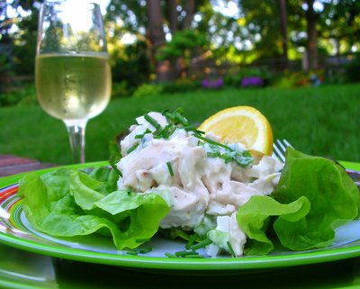 Lemon Chive Chicken Salad ♥ KitchenParade.com, chicken breasts gently poached in lemon water, then mixed into chicken salad, light and summery.