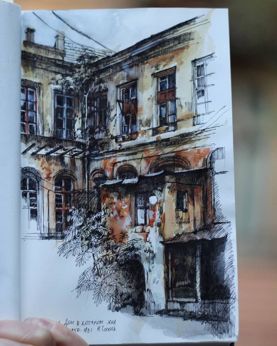 14-Typical-yard-in-Odessa-Martha-Nyrkova-Urban-Sketching-Drawings-and-Paintings-www-designstack-co