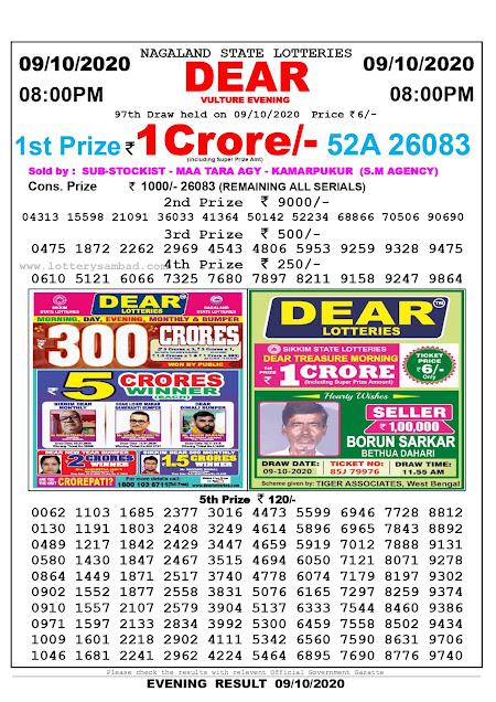 Lottery Sambad Result 09.10.2020 Dear Vulture Evening 8:00 pm