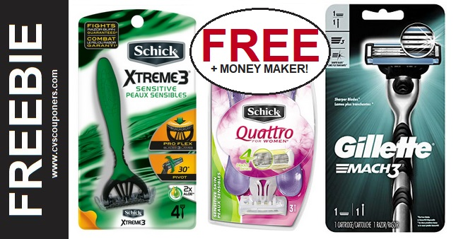 Free Gillette & Schick Razors at CVS 2-2-2-8