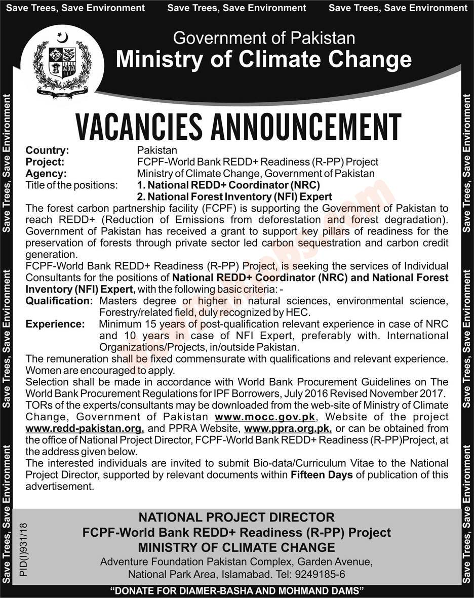 Government Of Pakistan Ministry Of Climate Change  Jobs
