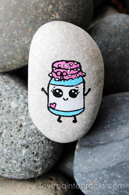 Cute mason jar painted rock