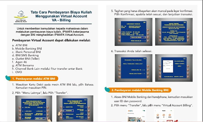 Tata Cara Pembayaran Biaya Kuliah Menggunakan Virtual Account (VA) - Billing