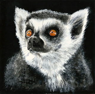 mixed media drawing of a little lemur