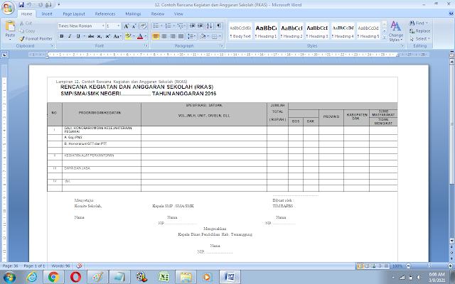 Contoh Rencana Kegiatan dan Anggaran Sekolah (RKAS)