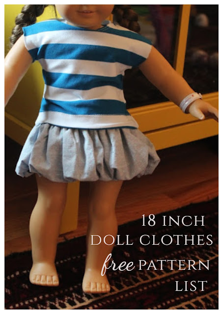 List of free American girl doll clothes patterns.