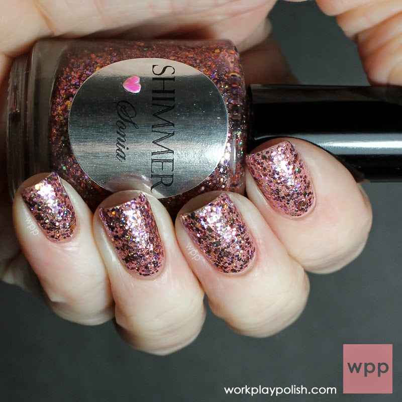 Shimmer Sonia over OPI My Very First Knockwurst
