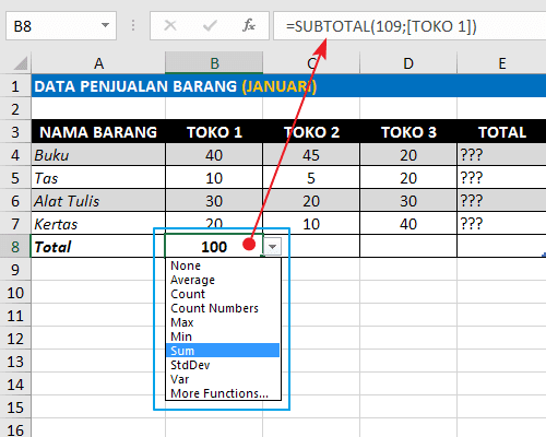Rumus Excel Penjumlahan Ke Bawah Pada Tabel Format