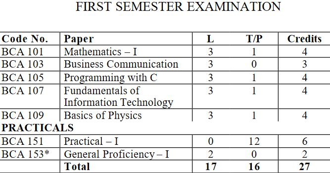 ipu bca syllabus For First Semester