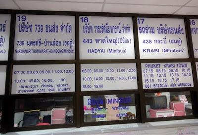 Phuket to Krabi and Hat Yai bus schedule