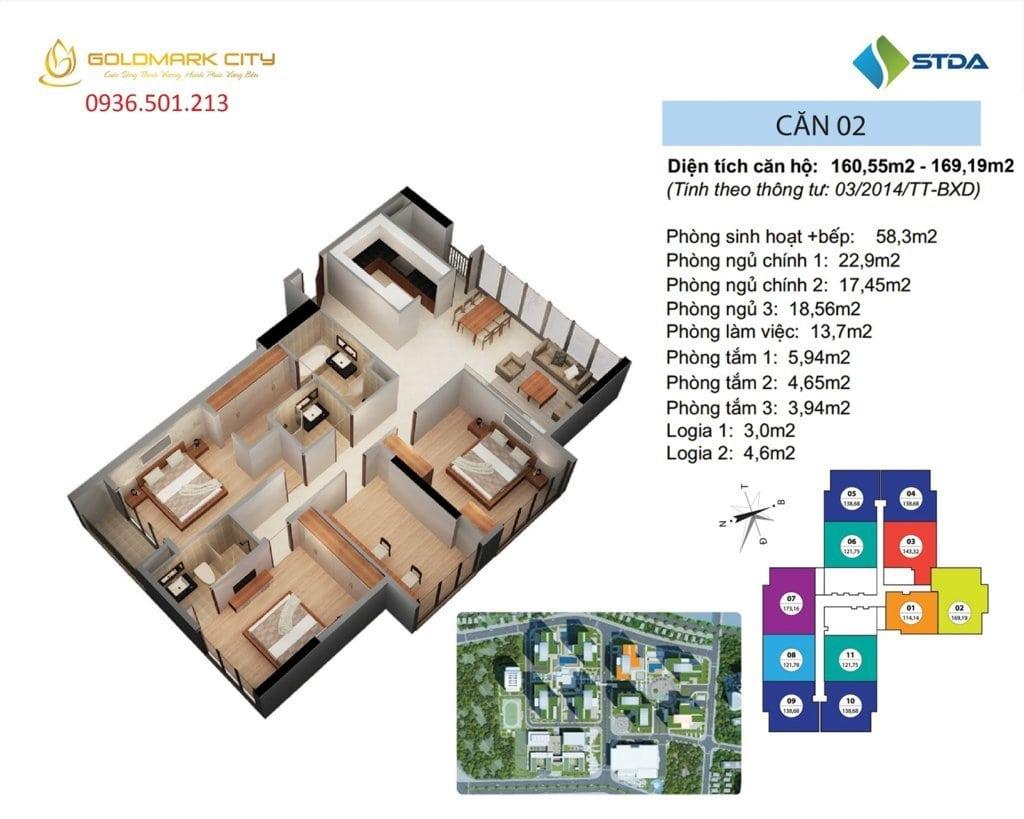 Mặt bằng căn hộ số 02 ruby 1- Goldmark City 136 Hồ Tùng Mậu