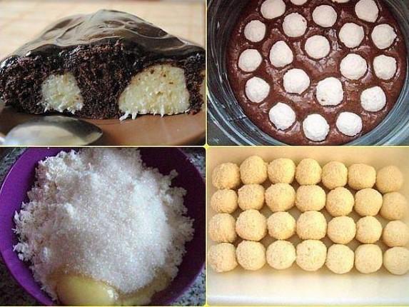 Пирог с творожными шариками и шоколадом