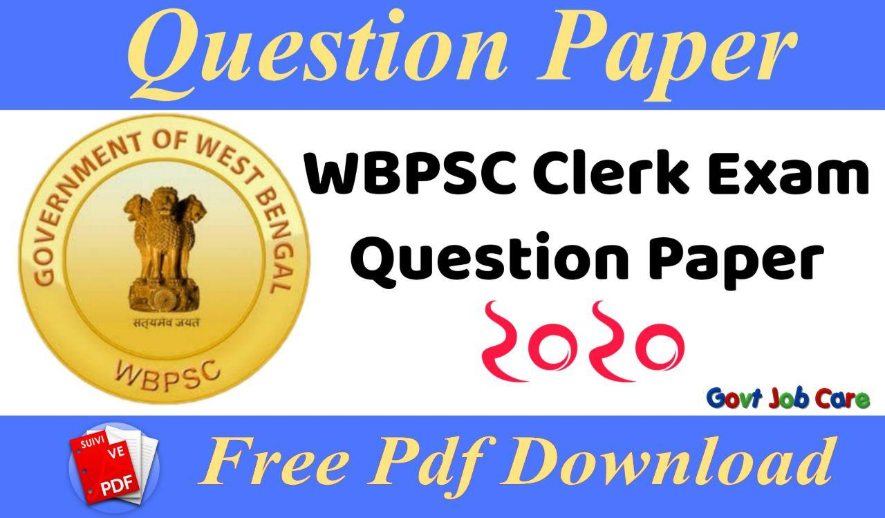 Wbpsc Clerk Exam Question Paper 2020